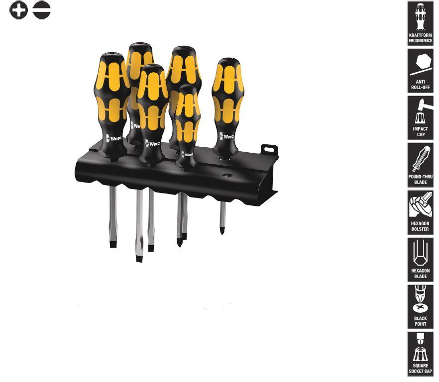 WERA Schraubendrehersatz 3-Komponentengriff 6-teilig