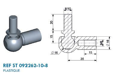 Winkelgelenk Ø 16mm Stahl mit M8 Gewinde