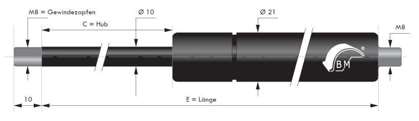 Gasdruckfeder 10 mm Kolbenstange, 21 mm Druckrohr und M8 Gewinde