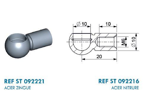 Kugelpfanne Stahl Ø 10 mm mit M6 Gewinde