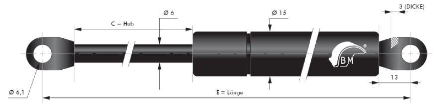 Gasdruckfeder 6 mm Kolbenstange, 15 mm Druckrohr und angeschweißtes Auge