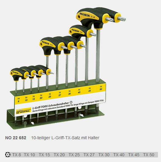 PROXXON TX-Schraubendrehersatz mit L-Griff 10-teilig