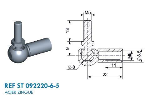 Kugelgelenk mit Gewinde M6 und M5