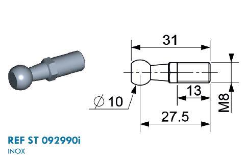Kugel Edelstahl Ø 10mm mit M8 Gewinde