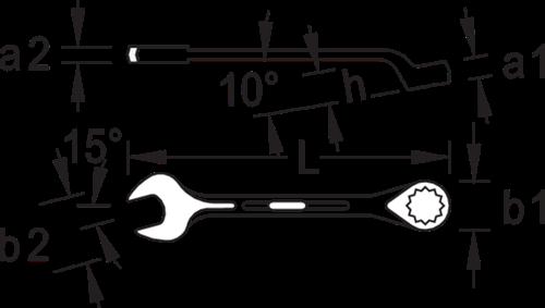 GEDORRE Gabel-Ringschlüssel ringseitig gekröpft