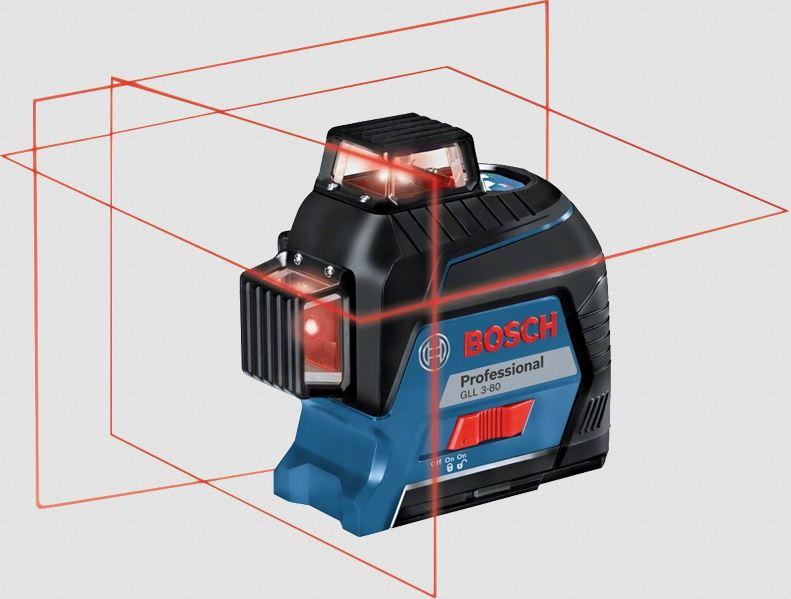 Bosch Kreuzlinienlaser GLL 3-80P 3 Linien mit Stativ BS150