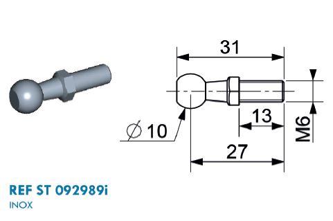 Kugel Edelstahl Ø 10mm mit M6 Gewinde