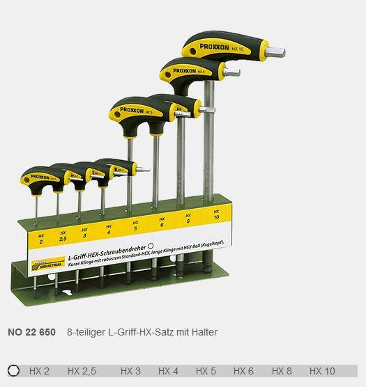 PROXXON HX-Schraubendrehersatz  mit L Griff 10-teilig
