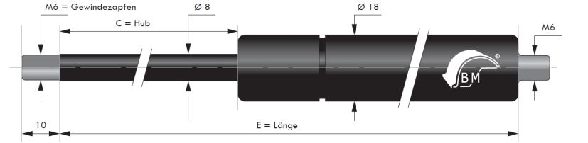 Gasdruckfeder 8 mm Kolbenstange, 18 mm Druckrohr und M6 Gewinde